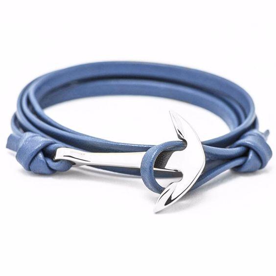 Bracelet ancre bleu femme