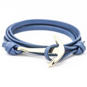 Bracelet ancre or bleu