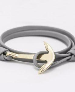 Bracelet ancre or gris