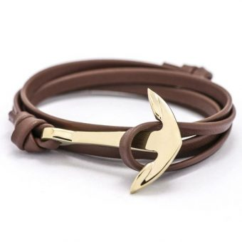 Bracelet ancre or marron