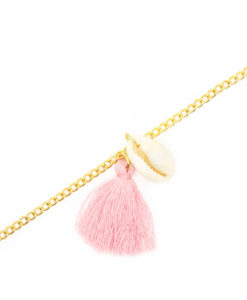 Bracelet coquillage pompon