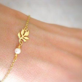 Bracelet feuille perle femme