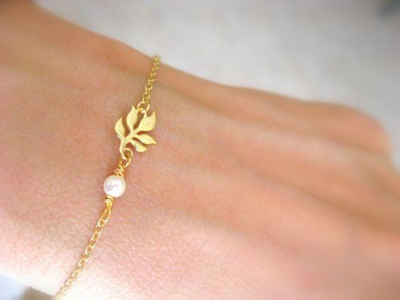 Bracelet feuille perle