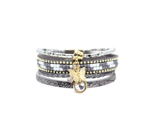 Bracelet multi-tours gris