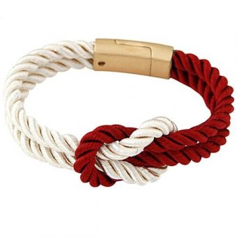 Bracelet noeud marin rouge blanc