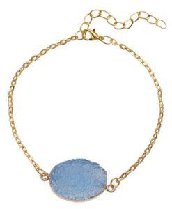 Bracelet or pierre bleu