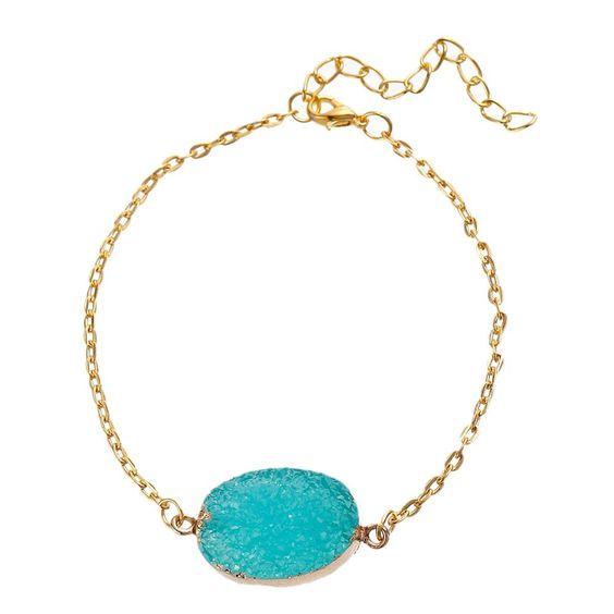 Bracelet or femme pierre turquoise