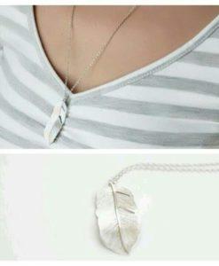 Collier sautoir plume argent