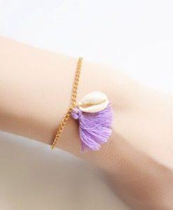Bracelet tendance pompon violet