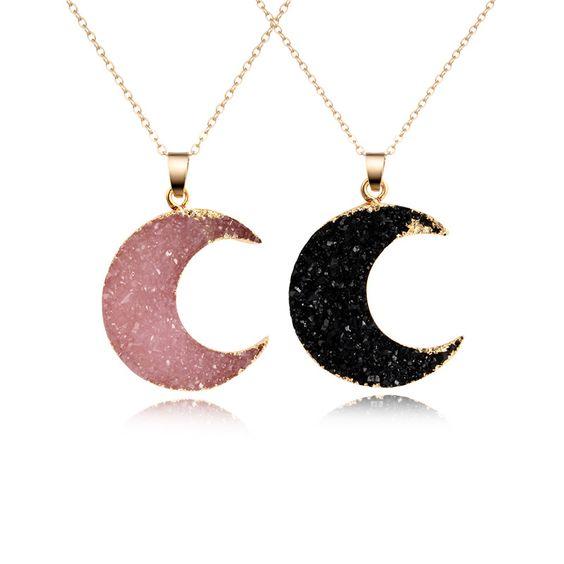 collier lune rose