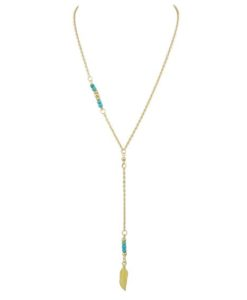 collier plume or turquoise