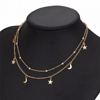 collier multirangs or lune et etoile