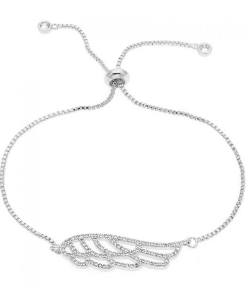 Bracelet mariage Plume cristal argent
