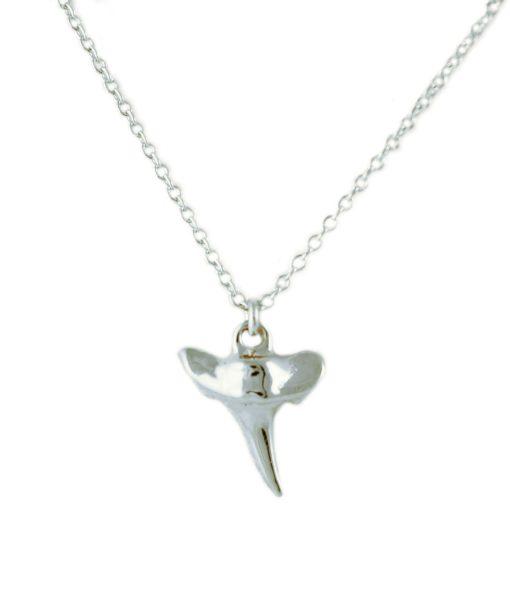 Collier dent requin femme argent
