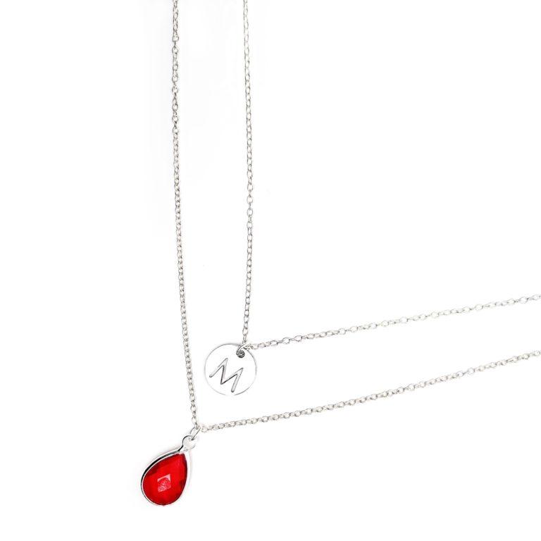 collier personnalise multi rangs rouge