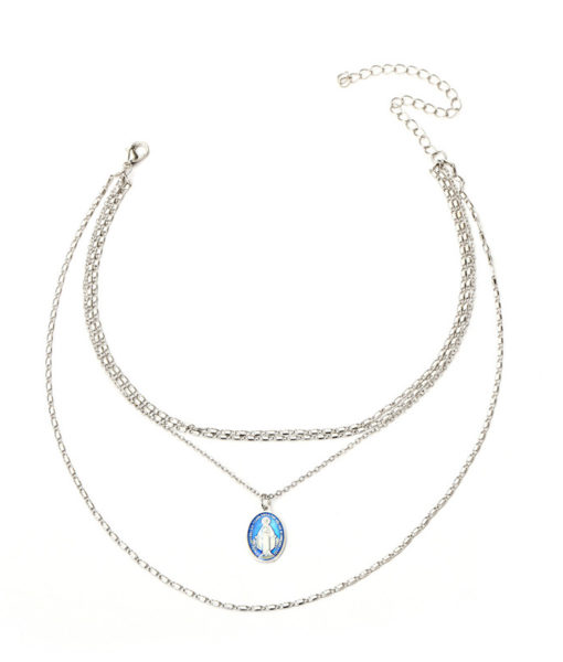Collier multirang medaille argent