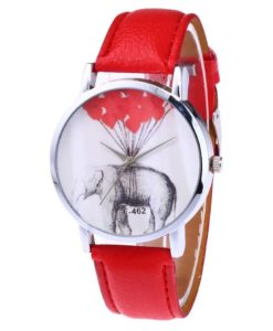 Montre elephant cuir rouge