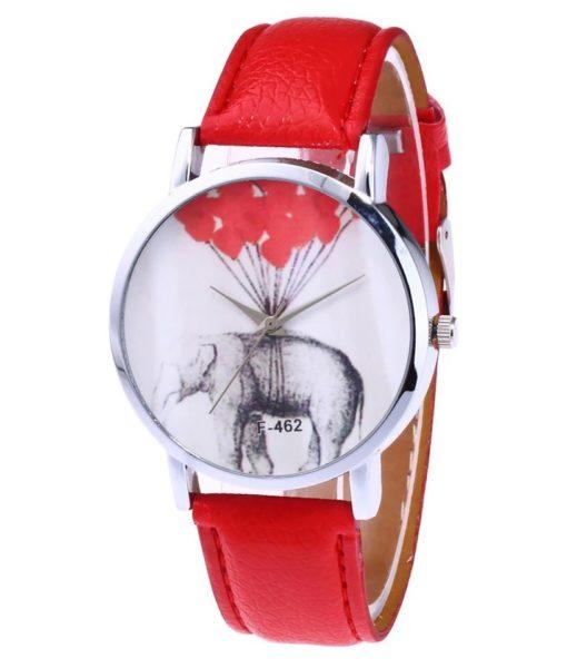 Montre elephant cuir rouge