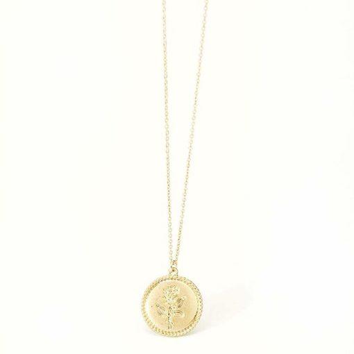 collier medaille fleur