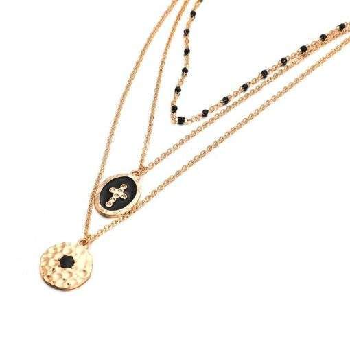 Collier chapelet medaille perles dore