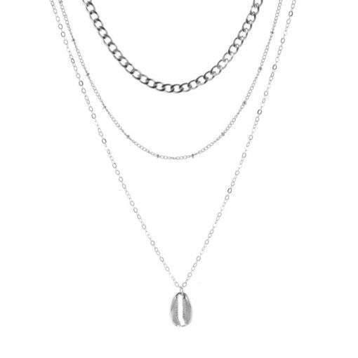 Collier argente de plusieurs chaînes pendentif coquillage