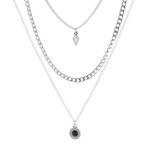 Collier argente triple chaine medaille