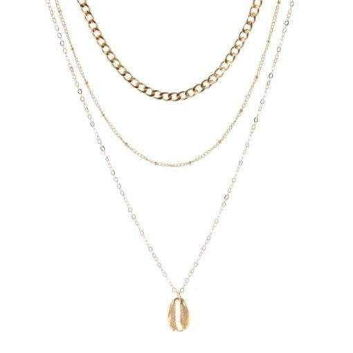 Collier dore chaines superposees coquillage
