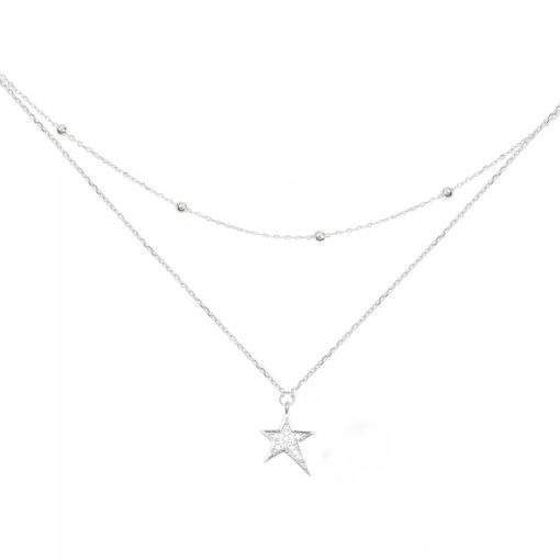 Collier double chaine satellite argent